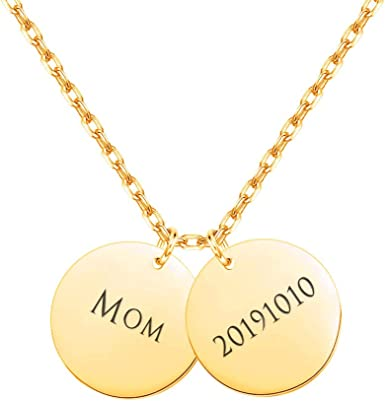 Mothers Day Gift 14K Gold Name Necklace Initial tag Jewelry Dainty Yellow Gold Disc Necklace Personalized Gold Initial Necklace