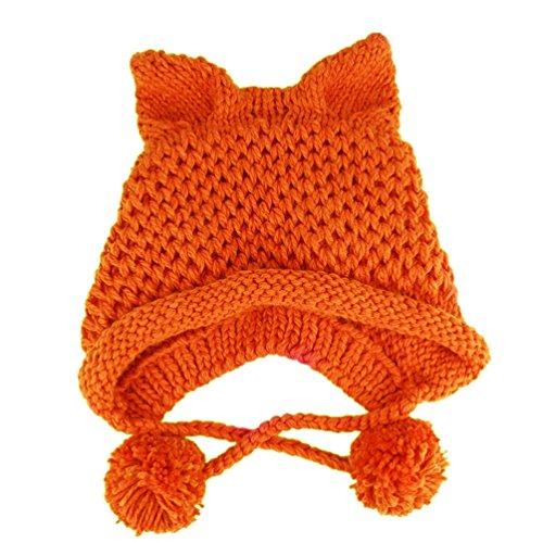 BIBITIME Women's Hat Cat Ear Crochet Braided Knit Caps Warm Snowboarding Winter (One size, Orange) (Crochet Cat Hat)
