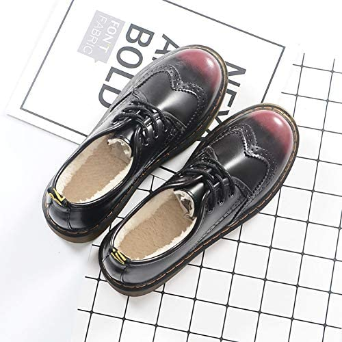HHXXTTXS Small Leather Shoes Retro Round Head Muffin Platform Shoes Autumn and Winter Student Shoes British College Shoes
