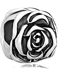 Rose Flower Silver Plated Charm Beads Charms For Bracelets