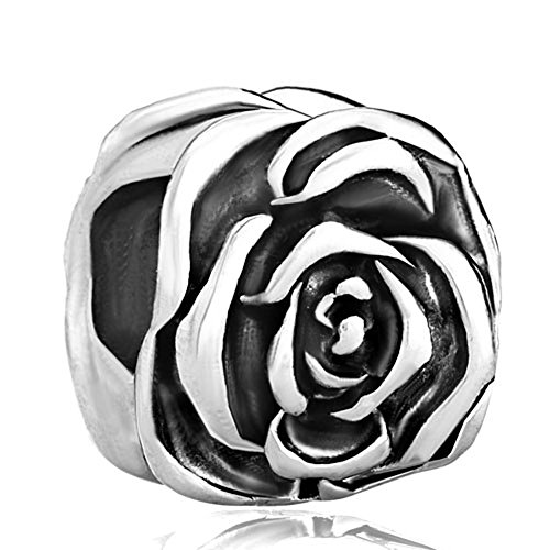 CharmsStory Rose Flower Silver Plated Charm Beads Charms For (Silver Rose Flower Charm)