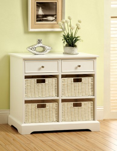 Furniture of America Lansing 2-Drawer Cabinet with Storage Baskets, White by Furniture of America