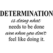 """Determination- motivational quote fitness life gym vinyl wall decal (black, 22""""x13"""")"""