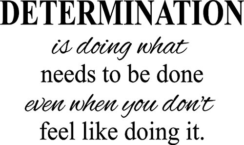 Determination- motivational quote fitness life gym vinyl wall decal (black, 22