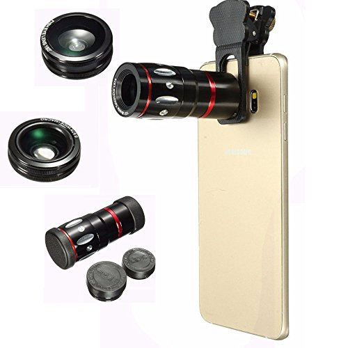 Phone Camera Lens Kit, Amever 4 in1 10x Zoom Telephoto Fish Eye + Wide Angle + Micro Clip Lens For iPhone 6S 6,iPhone 7 7plus, Samsung,HTC,Ipad,Tablet PC,Laptops