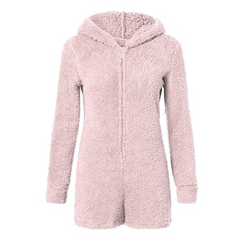 Fiaya Women's Autumn Cute Cat Ears Warm Fluffy Hooded Shorts Rompers Home Service Jumpsuit (Pink, XL)