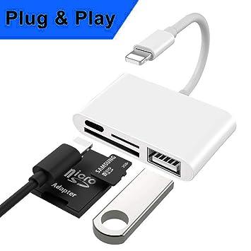 Lector de Tarjetas SD, Adaptador Lector de Tarjetas 4 en 1 con 1 Interfaz USB 2.0 OTG, 1 Lector de Tarjetas SD/TF, 1 Puerto PD Compatible con Teléfono ...