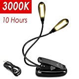 LED Book Lights Rechargeable - Moobibear Dual Head 8 LEDs Music Stand Light, 3000K Warm White Dimmable Clip On Black Kindle Lamp for Kids Women Men Reading in Bed at Night