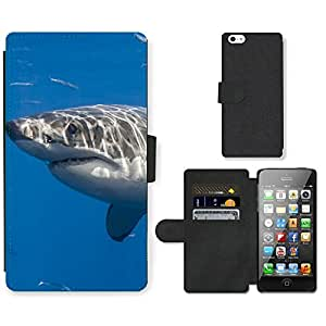 Hot Style Cell Phone Card Slot PU Leather Wallet Case // M99999134 Shark // Apple iPhone 5 5S 5G
