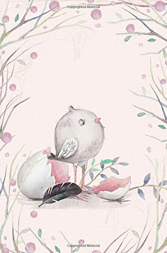 """Download Cute Bird Journal with Baby Crow and Egg 6 x 9 Narrow Ruled Lined Journal: 132 Pages, Softcover Notebook, 0.25"""" Lined Paper, No Margins pdf epub"""