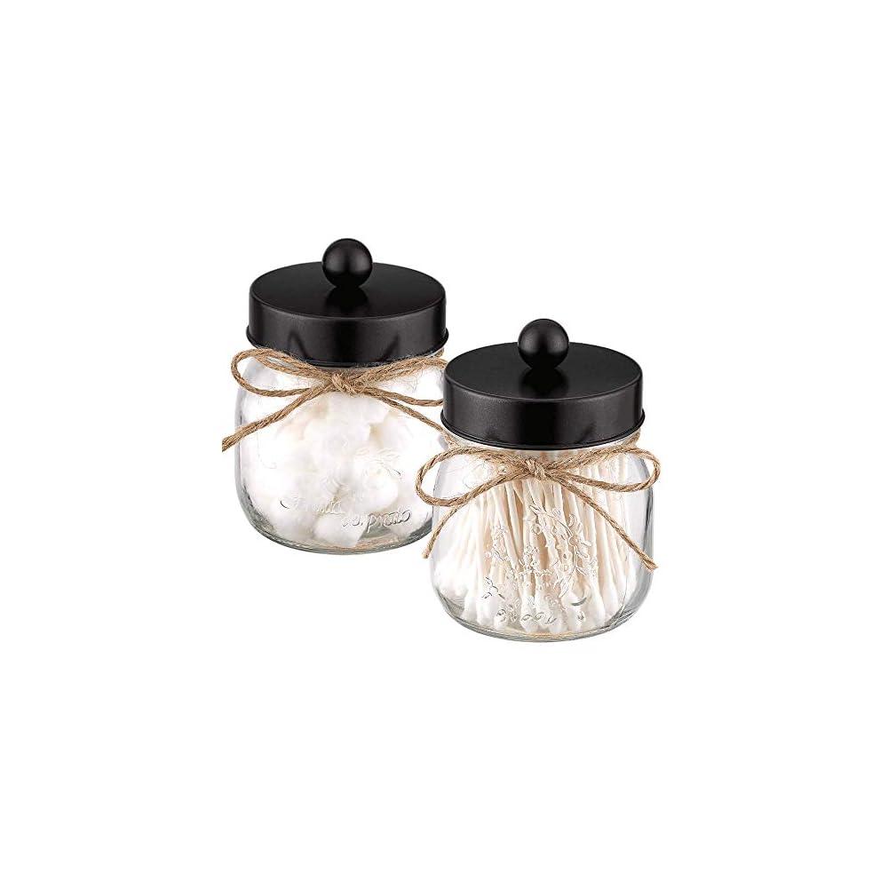 Elwiya 2 Pack Glass Mason Jar Mason Jar Bathroom Vanity Organizer with Black Stainless Steel Lid, Rustic Mason Jar…