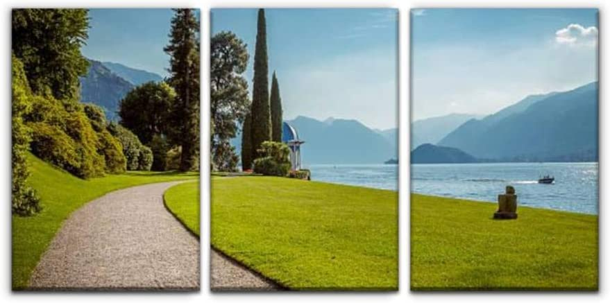 Amazon Com Park Lane At Como Lake Italy The Lake Como Stock Pictures Royalty Print Painting 3 Panel Home Decoration Paintings Wall Art Framework Canvas Prints Gallery For Living Room Wall Poster Hang