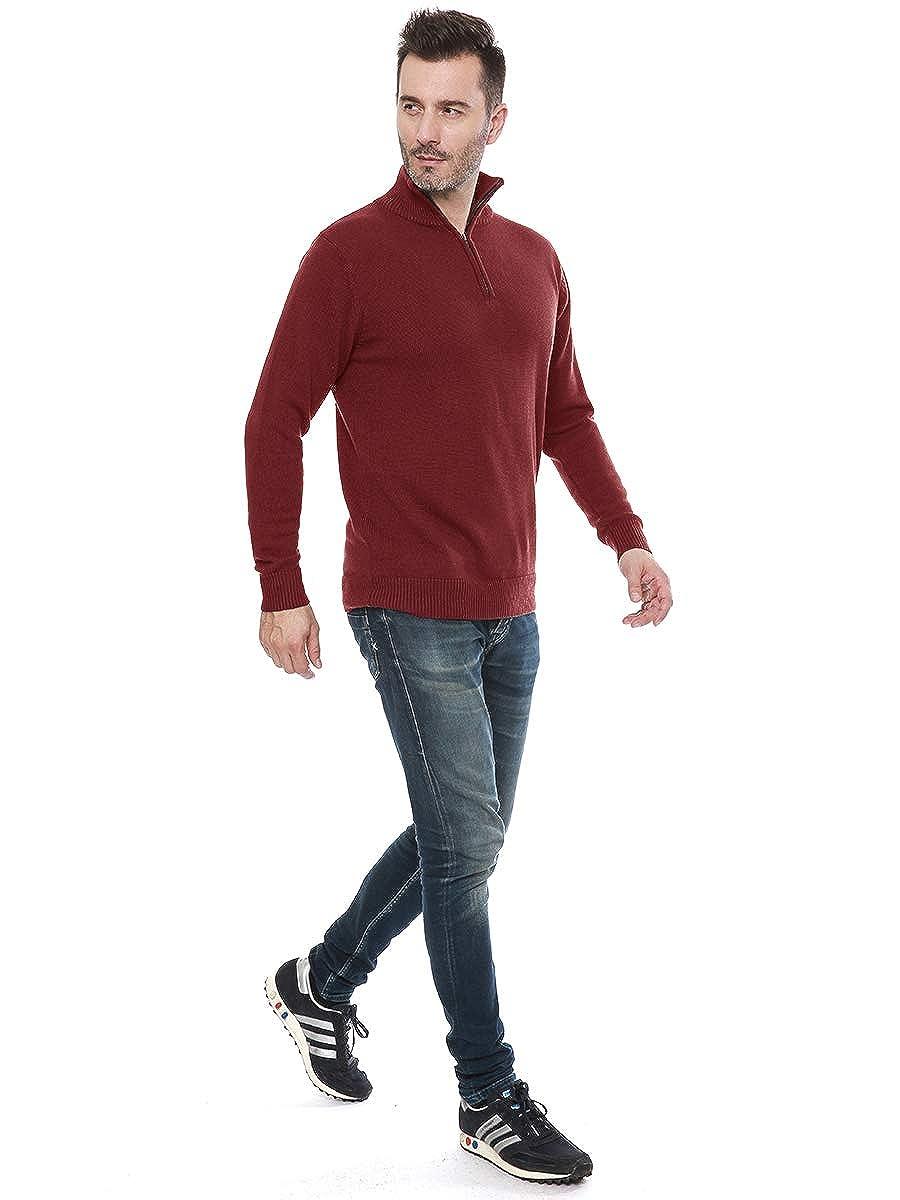 Garatia Mens Jumper Turtle Neck Zip Sweater Long Sleeve Comfortable Cotton Knit Sweatshirt