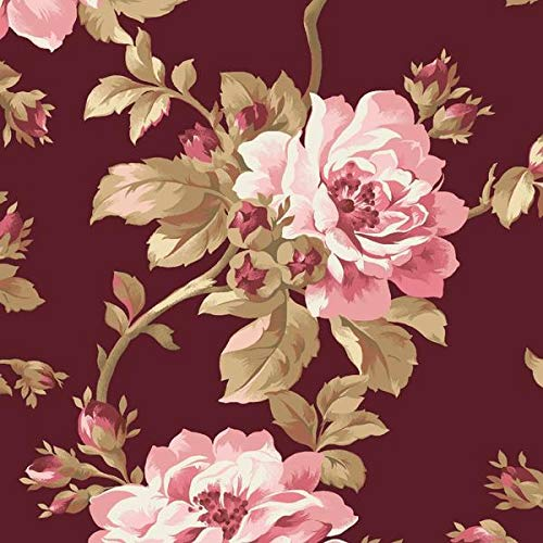 Burgundy & Blush Large Floral Fabric MAS9360-M from Maywood by The Yard