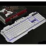 Backlit Game Wired Keyboard,Metal,Mechanical Feel,USB Connection-E