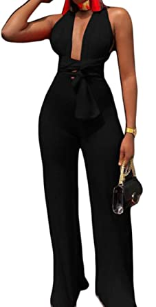 Gocgt Womens Sleeveless Wide Long Pants Rompers Deep V Neck Halter Jumpsuit