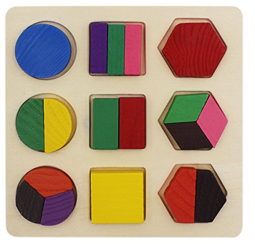 19 PCS Geometric Shape Wooden Chunky Puzzles, Kids Montessori Early Educational Toy Sorting Game Stacking ()