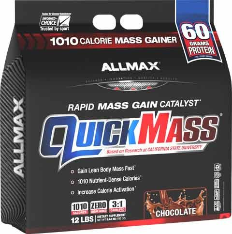ALLMAX QUICKMASS LOADED, Rapid Mass Gain Catalyst Powder, Zero Trans Fat, Chocolate Flavor, Dietary Supplement, 12 Pound