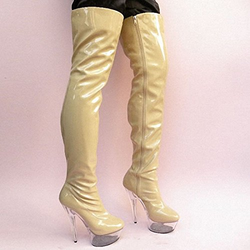 Knee catwalk boots crystal fashion 15 high heels cm stage Boots IfFxq