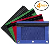 Emraw Zippered Pencil Pouches with 3-Ring Grommet Holes & Quick View Mesh Pocket - Colors Included: Black, Green, Red, Blue (4 Pack)