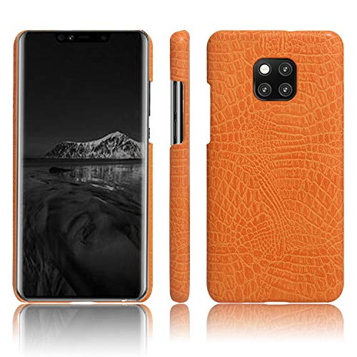 Huawei Mate 20 Pro Case, Almiao [Ultra-Thin] Premium PU Leather Slim Protective Phone Case Back Cover Huawei Mate 20 Pro (Orange)