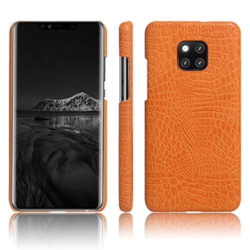 Huawei Mate 20 Pro Case, Almiao [Ultra-Thin] Premium PU Leather Slim Protective Phone Case Back Cover Huawei Mate 20 Pro (Orange)