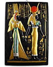 تابلوه فرعوني للحائط مزخرف بالرسومات واللغة الهيروغليفية من البورسلين، صناعة مصرية يدوية من جولدن توت مقاس متوسط 30x35 سم - متعدد الالوان