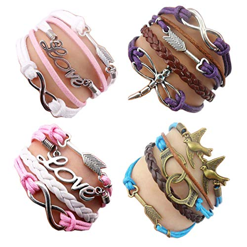 ACUNIONTM Twinkle Handmade Fashion Arrow Charm for Friendship Gift Party Accessory Leather Bracelet (4 Pieces/lot)