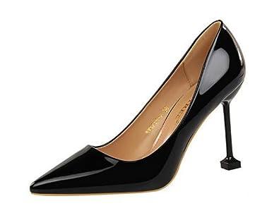 3c7a08041dd Pointed Toe high Heels Women s Wedding Shoes Office Sexy high Heels(Black 36  5
