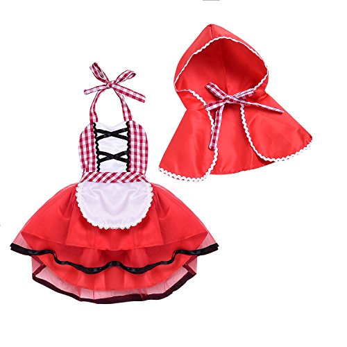 2pcs Baby Girls Little Red Riding Hood Costumes Dresses Cosplay With Cloak (Red, 12-18Months)