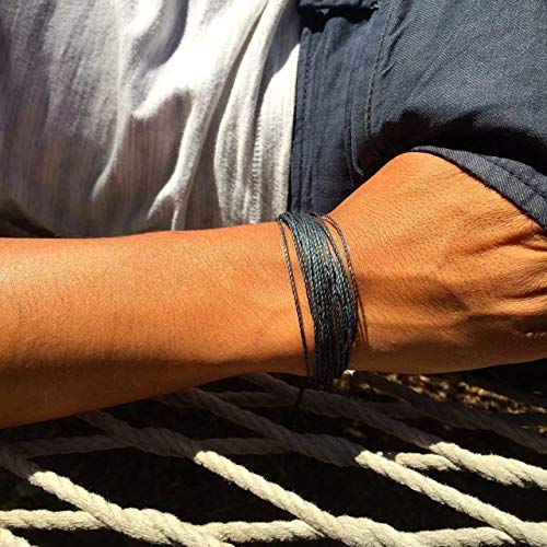 RUMI SUMAQ Navy String Friendship Surfer Bracelet Adjustable Nautical Sailor Beach Rope Jewelry for Men and Women