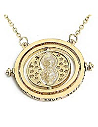 Boormanie Granger Time Turner Hourglass Deathly Hallows Necklace,Granger Rotating Hour Glass Pendant Necklace