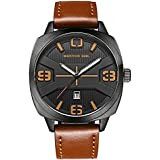 Menton Ezil Fashion Business Mens Movement Watches Waterproof Casual Analog Date Quartz Dress Wrist Watch with Brown Leather Strap