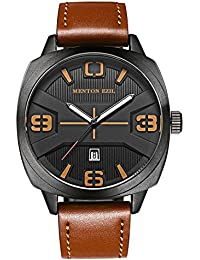 Fashion Business Mens Movement Watches Waterproof Casual Analog Date Quartz Dress Wrist Watch with Brown Leather Strap