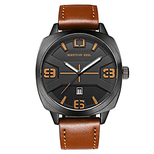 Menton Ezil Mens Watches Sapphire Crystal Leather Band 30M Waterproof Classic Dress Analog Quartz Wrist Watch with Date (Brown)