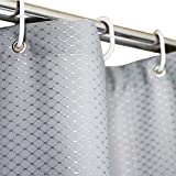 """Eforgift Mold Resistant Shower Curtain Water Repellent Polyester Fabric, Grey Weighted Stall Curtain Solid Color with Rustproof Metal Grommets and Plastic Hooks 36"""" x 72"""", Fashionable Waffle Weave"""
