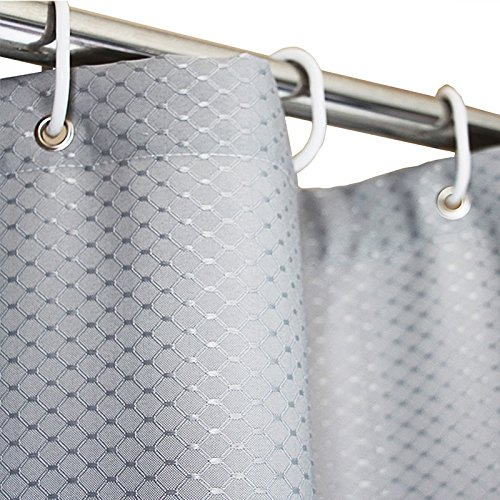 Eforgift Mold Resistant Shower Curtain Water Repellent Polyester Fabric, Grey Weighted Stall Curtain Solid Color with Rustproof Metal Grommets and Plastic Hooks 36 x 72, Fashionable Waffle Weave