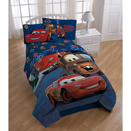 1 Piece Blue Red Disney Cars Hometown Movie Theme Comforter Twin Size, Beautiful Bold & Colorful Animated Cars Print, Fun Graphic Pattern Reversible Bedding, Soft Plush Durable Polyester, For Unisex by D.I.D.