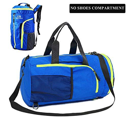 UBaymax Sporttasche Reisetasche mit Schuhfach, 3 in 1 Design Faltbare Fitnesstasche Umhängetasche Gym Bag, 32 Liters Wasserdicht Handgepäck Weekender Rucksack für Männer und Frauen