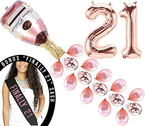 21st Birthday Decorations Finally 21 Birthday Party Supplies Cake Topper Rose Gold Banner Rose Gold Confetti Balloons for her Rose Gold Curtain Backdrop Props or Photos Happy Birthday Bday Princess 21 -