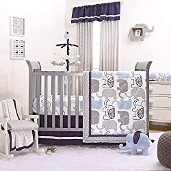 Little Peanut Navy Blue and Grey Elephants Boy's 4 Piece Baby Crib Bedding Set