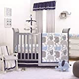 Little Peanut Navy Blue and Grey Elephants 4 Piece Baby Crib Bedding Set