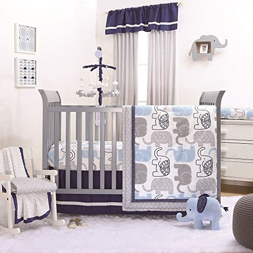 - Little Peanut Navy Blue and Grey Elephants 4 Piece Baby Crib Bedding Set