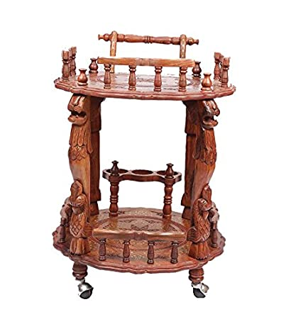 Aarsun Woods Beautiful Handcrafted Round shaped Service Trolley