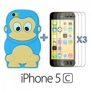 OnlineBestDigital - Monkey Style 3D Silicon Case for Apple iPhone 5C - Light Blue with 3 Screen Protectors