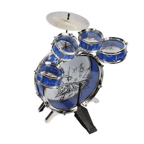 51EjIG4ZZyL - 11pc Kids Boy Girl Drum Set Musical Instrument Toy Playset BLUE