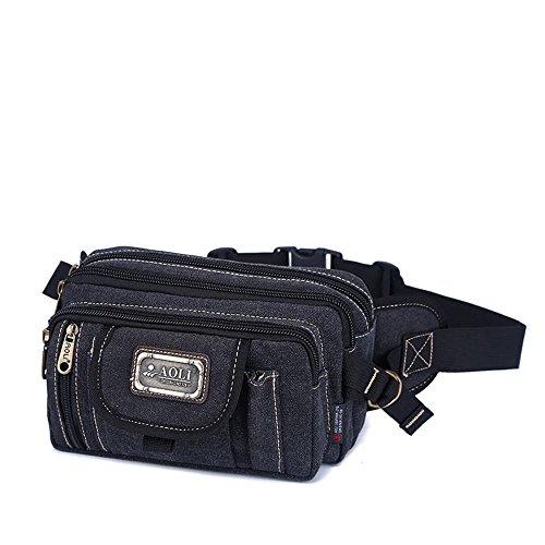 BUSL Senderismo paquetes de Fanny caja registradora de oficina informal bolsa de mensajero de conducción al aire libre bolsillos multifunción hombro de la lona en el pecho de los hombres . A C