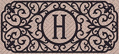 Evergreen Sassafras Decorative Mat Set, Mat Size: 10x22 Inches, Scroll Mat Fram Size: 18x30 Inches, Filigree Monogram Embossed Letter H