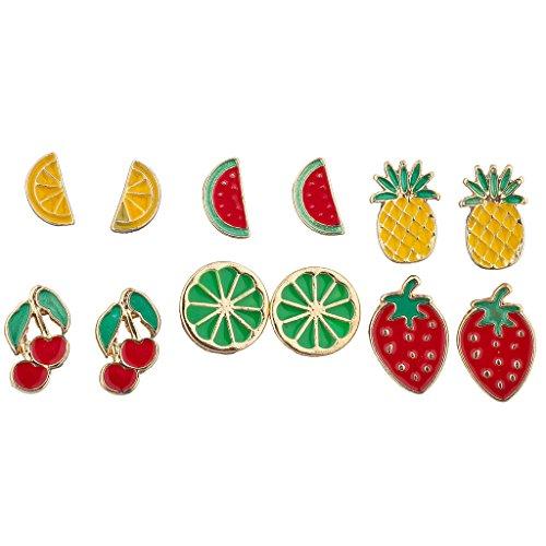 Lux Accessories Goldtone Enamel Tropical Fruit Multi Earring Set (6pc)