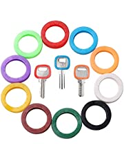 GoorDik 30x Key Caps Tags House Key Covers, Color Key Coded Key ID Rings, Upgraded Material & Modern Design, Strong Toughness in 10 Different Colors - Perfect Coding System to Tag Your Keys